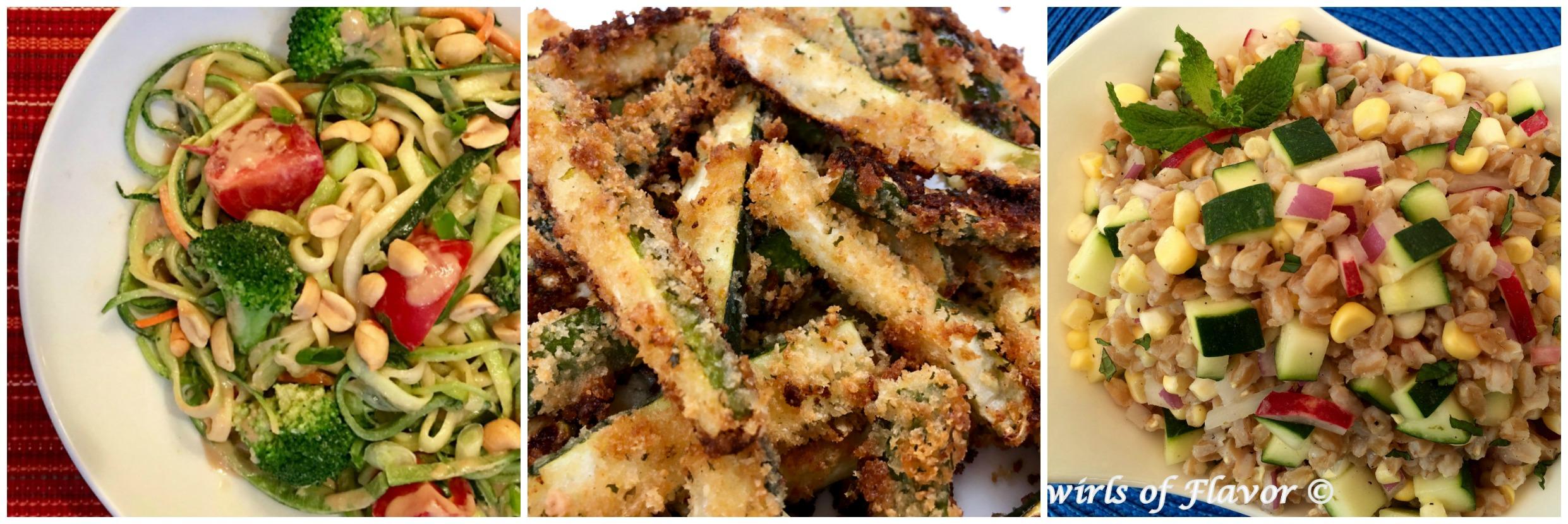 Left to Right: Zucchini Noodles; Zucchini Fries; Zucchini Farro Salad