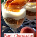 Wine glasses with cheesecake mousse and peaches