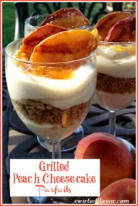 Peach Cheesecake Parfait in glasses