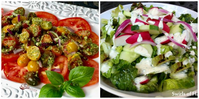 Pesto Tomato Salad and Grilled Romaine