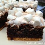 Gooey S'mores Brownies is an easy recipe that takes s'mores to another level. Graham crackers are baked into brownies and then topped with chocolate bars and marshmallow fluff creating a melty gooey chocolate marshmallow topping with mini marshmallows on top! #brownies #s'mores #baked #dessert #funforkids #marshmallows #grahamcrackers #swirlsofflavor