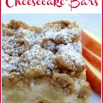 one apple cheesecake bar with text overlay