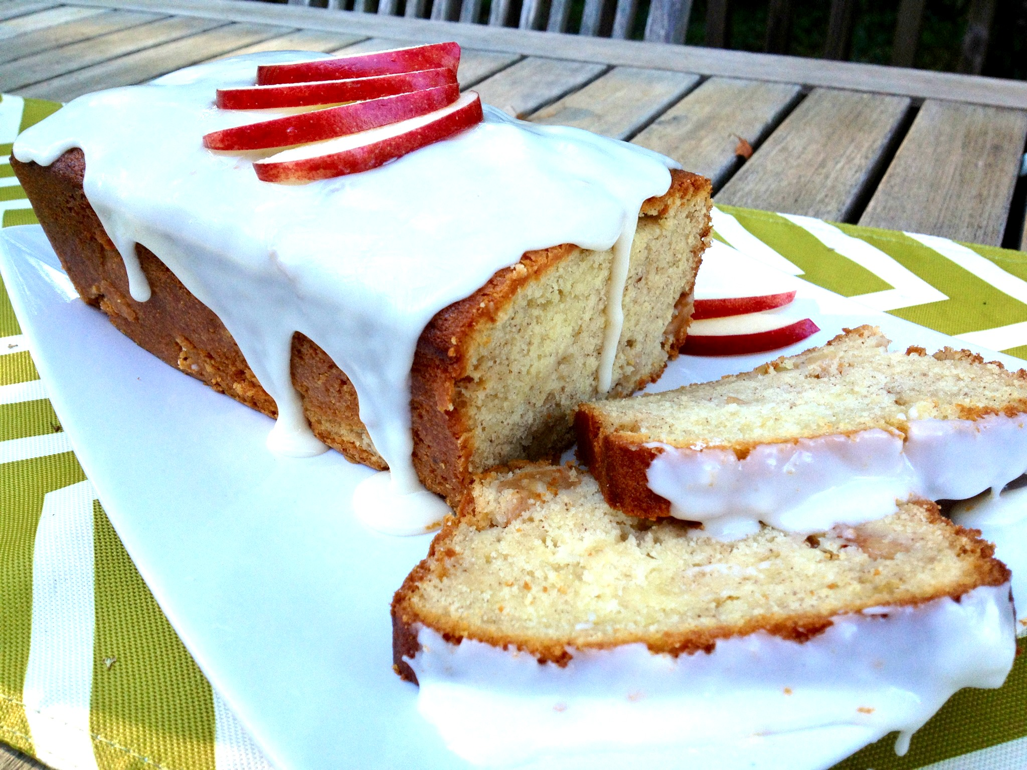 Apple Cake on picnic table