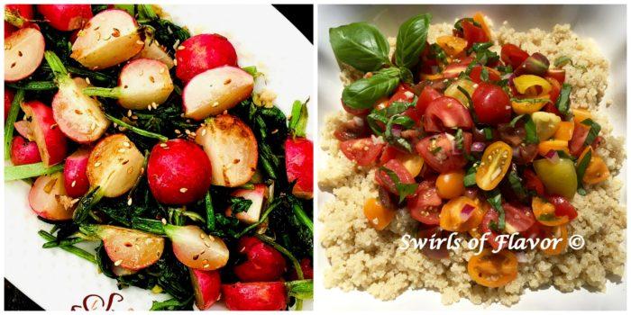 Sauteed Radishes and Tomato Bruschetta Quinoa