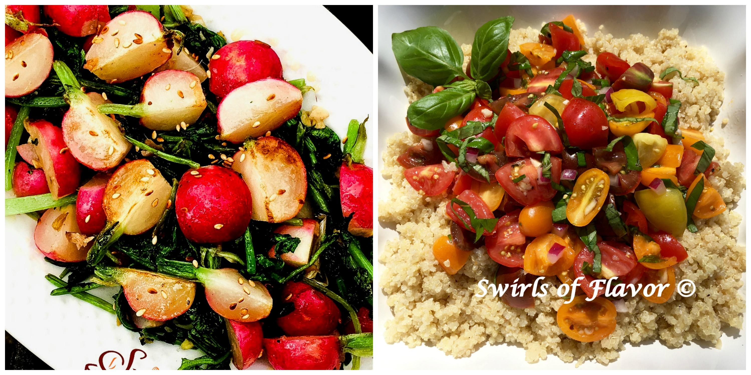 Sauteed Radishes and Tomato Bruschetta Quinoa