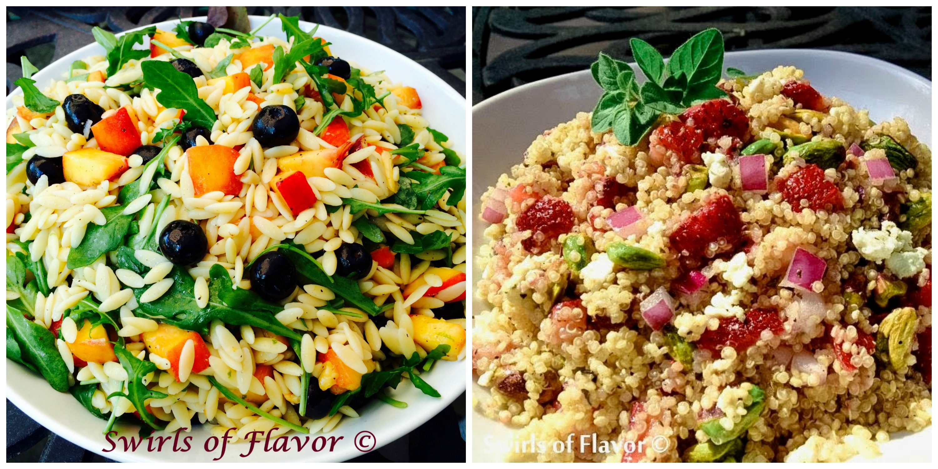 Blueberry Peach Orzo and Strawberry Pistachio Quinoa