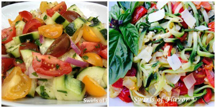 tomato cucumber Salad and Zucchini Pasta Pomodoro
