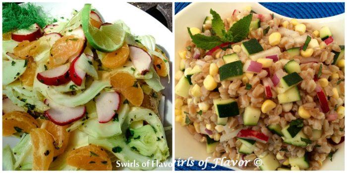 Fennel Mndarin Salad and Zucchii Corn Farro
