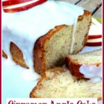 Apple Cake with glaze and text overlay