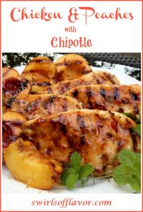 grilled chicken with peaches and chili glaze with text overlay