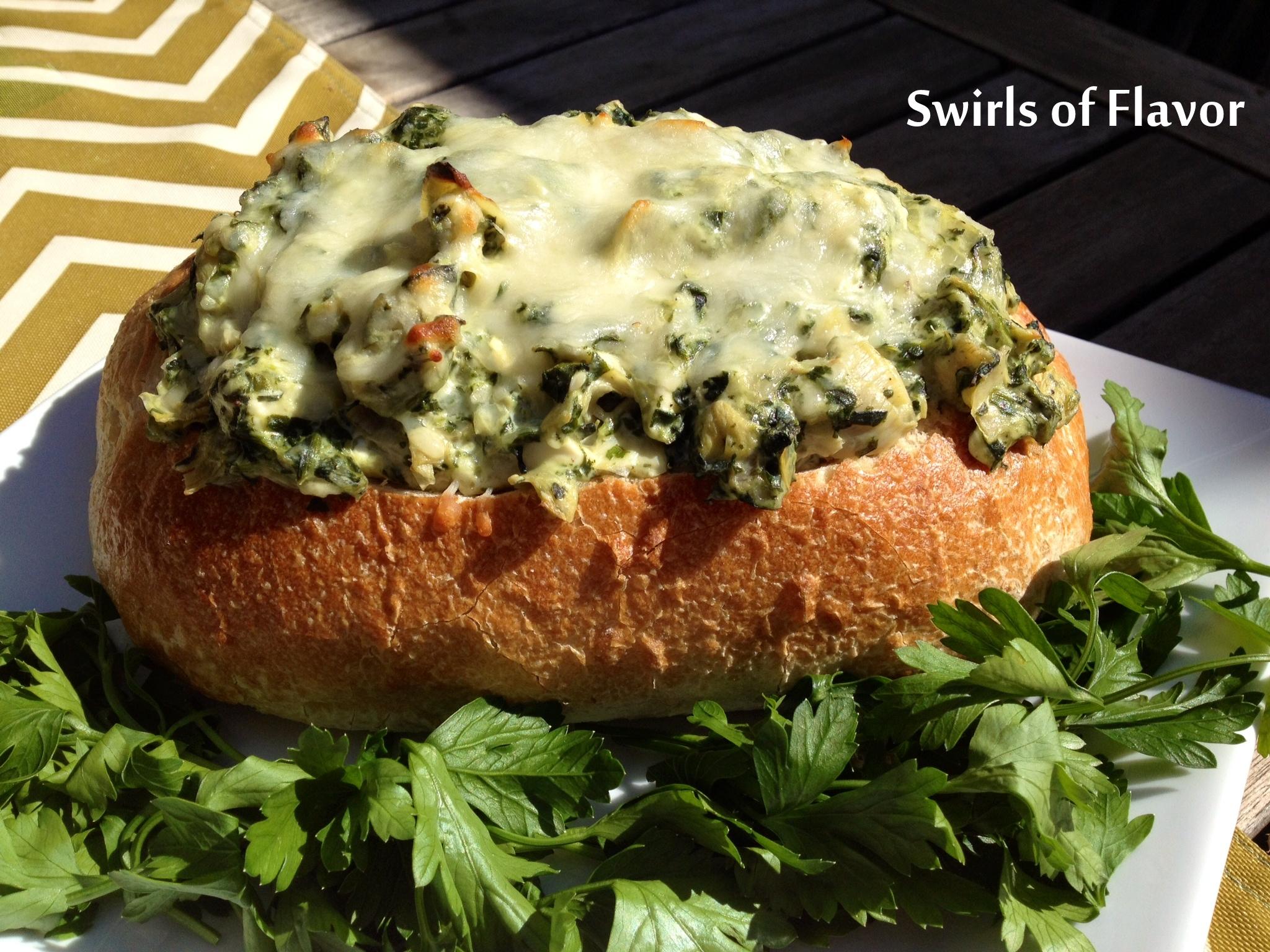 Spinach Artichoke Dip in Bread Bowl Artichoke Dip Spinach Dip