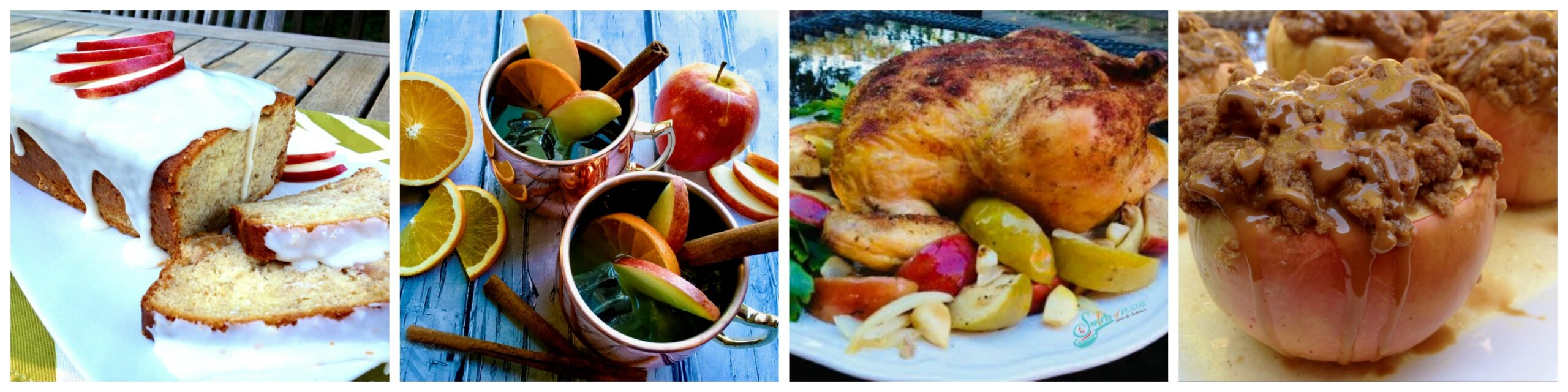 Left to Right: Apple Cake; Apple Cider Moscow Mule; Roasted chicken with Apples; Apple Crumb Baked Apples