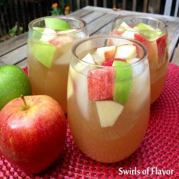 Three glasses of Apple Cider Sangria