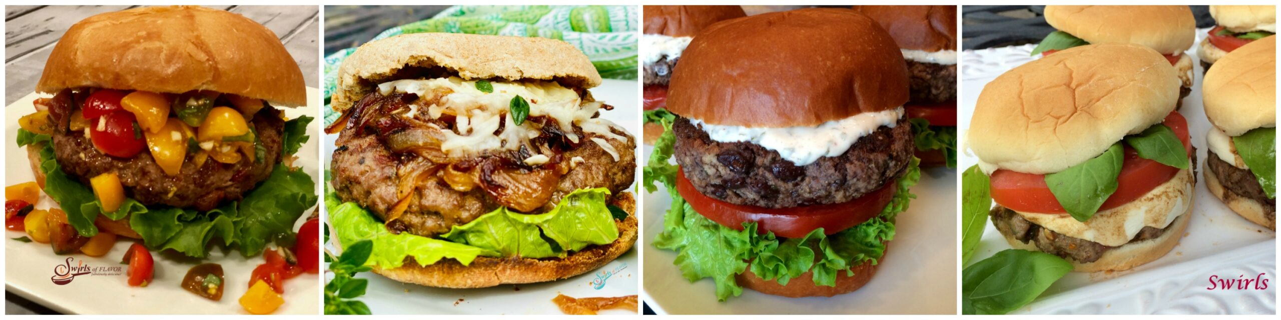 Left to Right: Bruschetta Burgers, French Onion Burgers; Black Bean Burgers; Caprrese Burgers