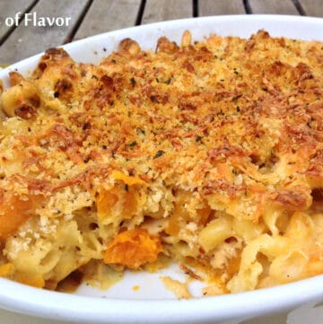 butternut squash mac and cheese with crumb topping in casserole dish