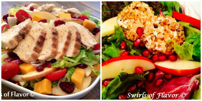 Apple Cheddar Chicken Salad and Pomegranate Apple Salad
