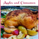 oven roasted chicken and apples with text overlay