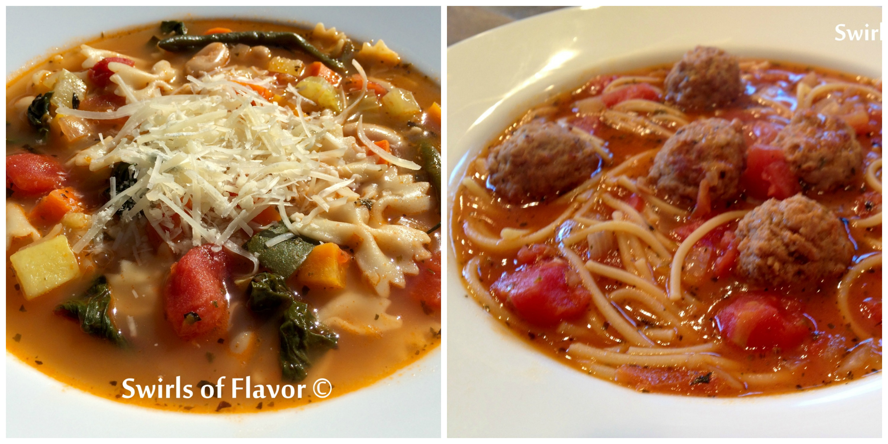 Pesto Minestrone and Spaghetti and Meatball Soup