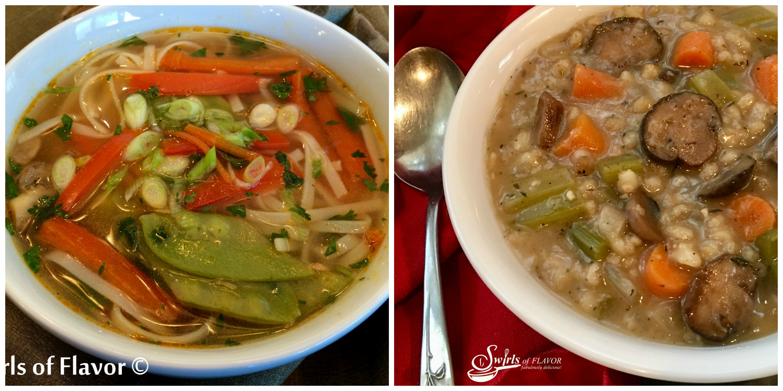 Thai Vegetable Soup and Mushroom Barley Soup