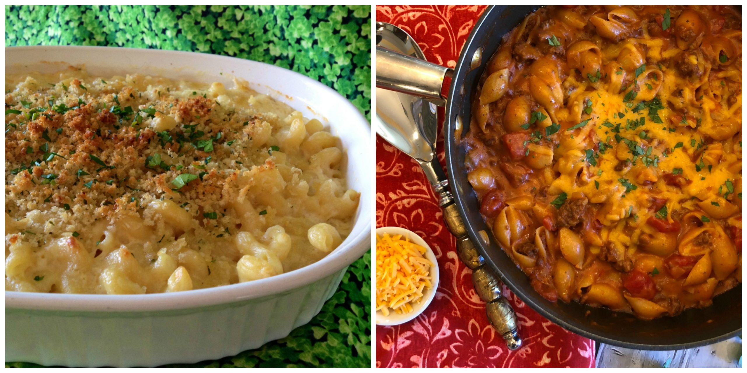 Irish /cheddar Mac and Cheese and Chili Mac and Cheese
