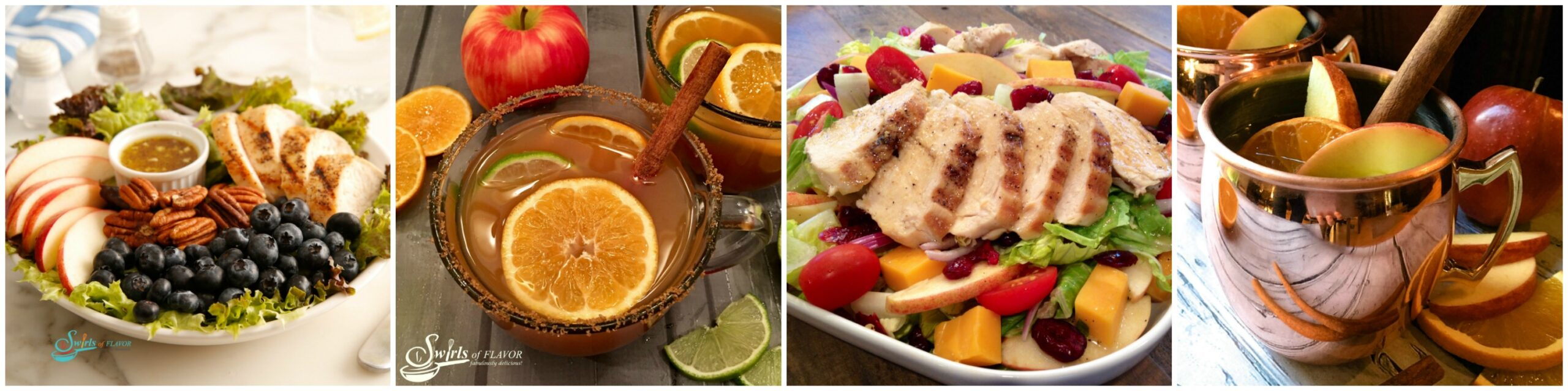 Left to right: Apple Pecan Salad; Mulled Apple Cider; Apple Cheddar Chicken Salad; Apple Cider Moscow Mule