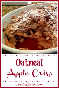 apple crisp in bakign dish with text overlay