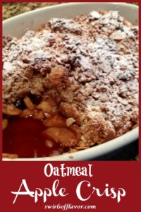 scoop out of apple crisp dessert with text overlay