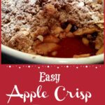 apple dessert in baking dish with text overlay
