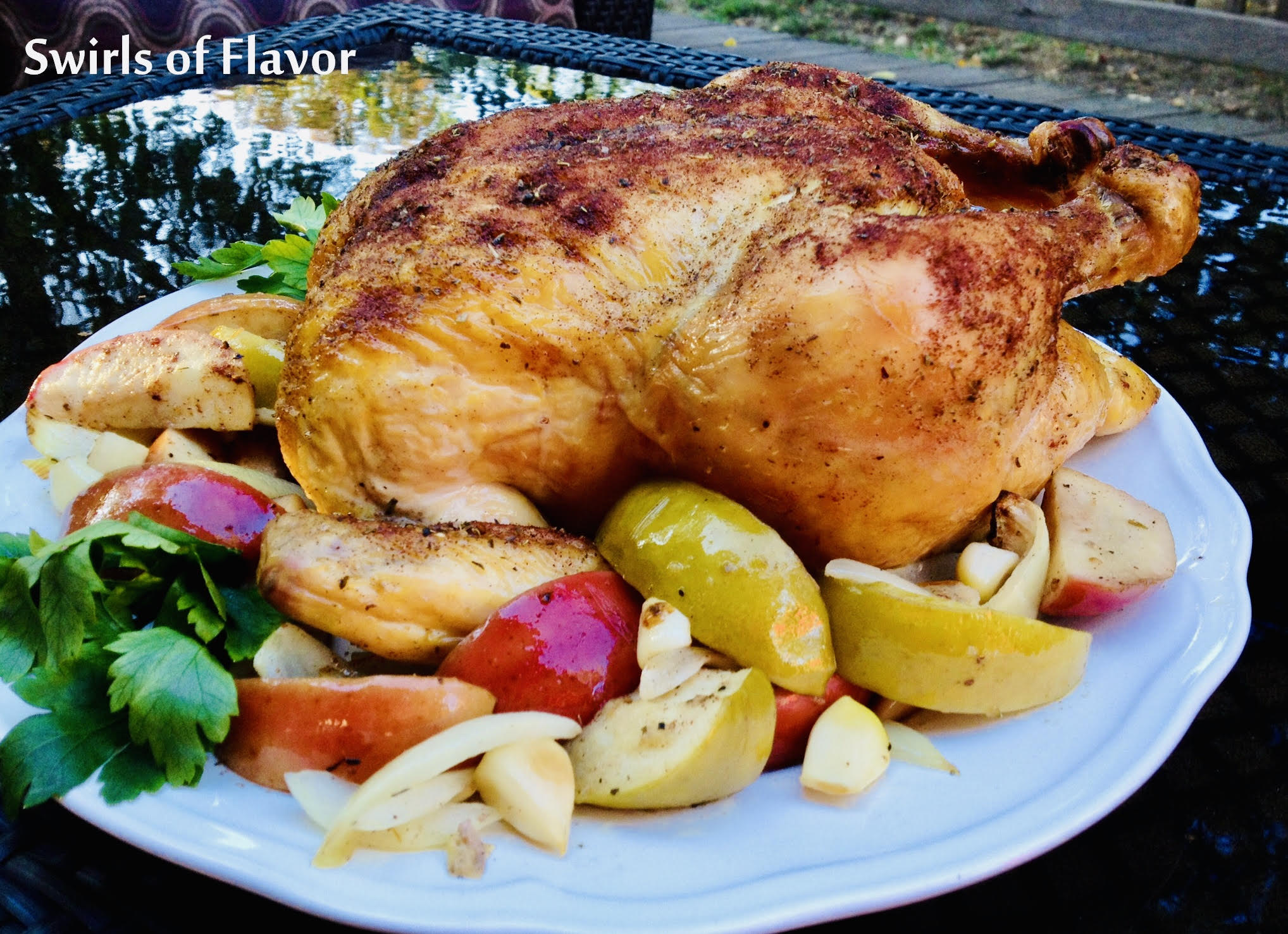 oven roasted chicken with onions and apples