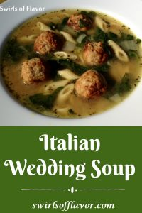 Italian Wedding Soup is such an easy recipe to make with ready-made meatballs and baby spinach! A homemade soup that's ready in about 30 minutes and the perfect soup to warm you up on a chilly day. Italian Wedding Soup will be a family favorite recipe for sure! #soup #homemadesoup #meatballs #spinach #Italianweddingsoup #30minuterecipe #easyrecipe #swirlsofflavor