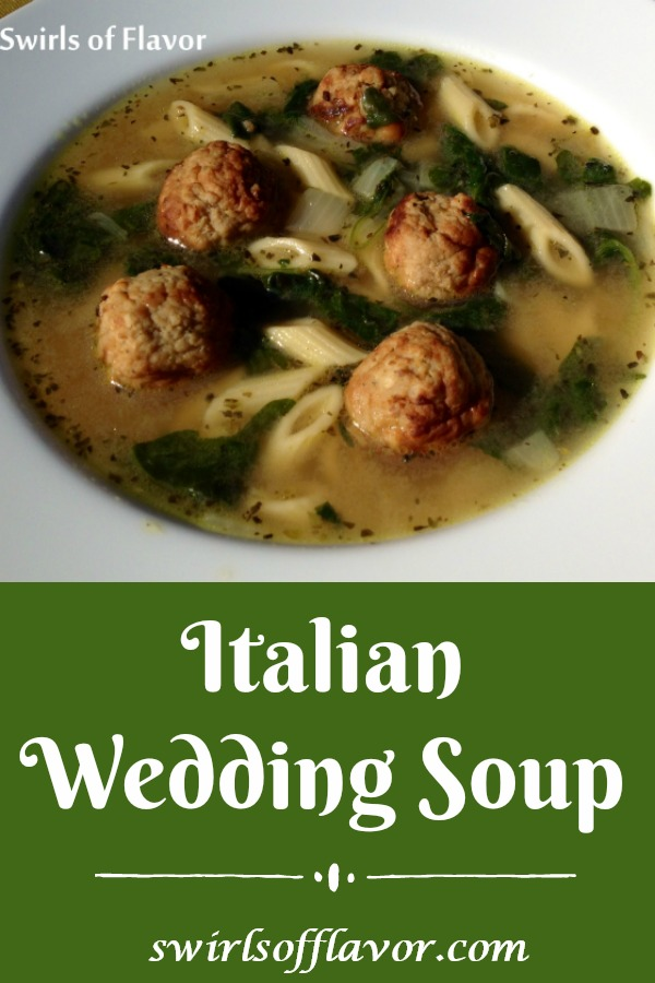 Italian Wedding Soup issuch an easy recipe to make with ready-made meatballs and baby spinach! A homemade soup that's ready in about 30 minutes and the perfect soup to warm you up on a chilly day. Italian Wedding Soup will be a family favorite recipe for sure! #soup #homemadesoup #meatballs #spinach #Italianweddingsoup #30minuterecipe #easyrecipe #swirlsofflavor
