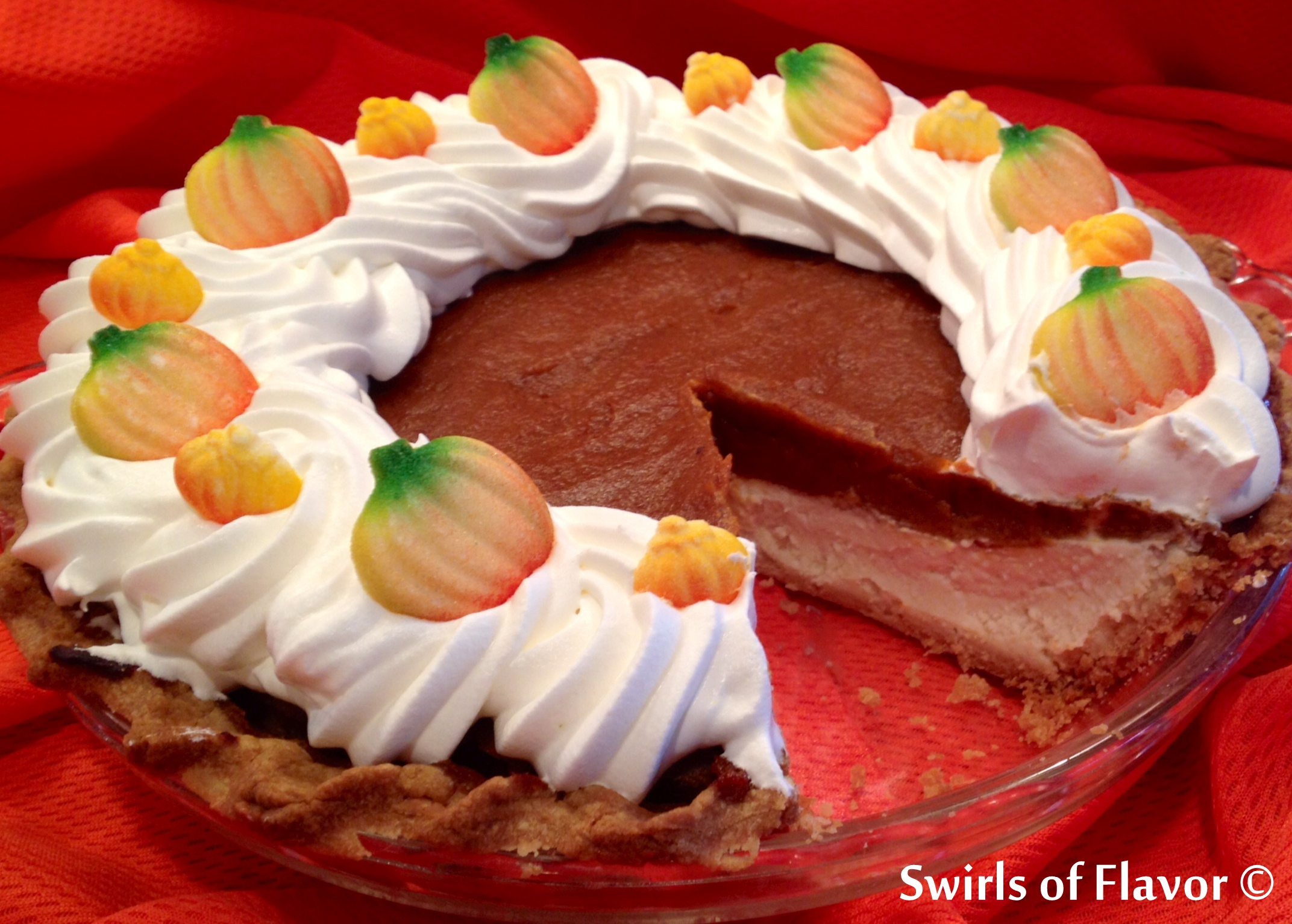 The perfect combination of pumpkin pie and cheesecake so you don't have to decide between the two!