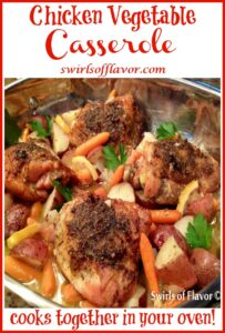 roasted chicken and vegetables with text overlay