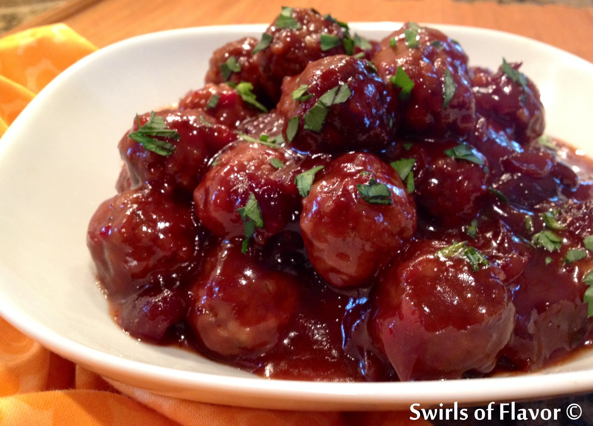 Cranberry Sweet & Sour Meatballs - Swirls of Flavor