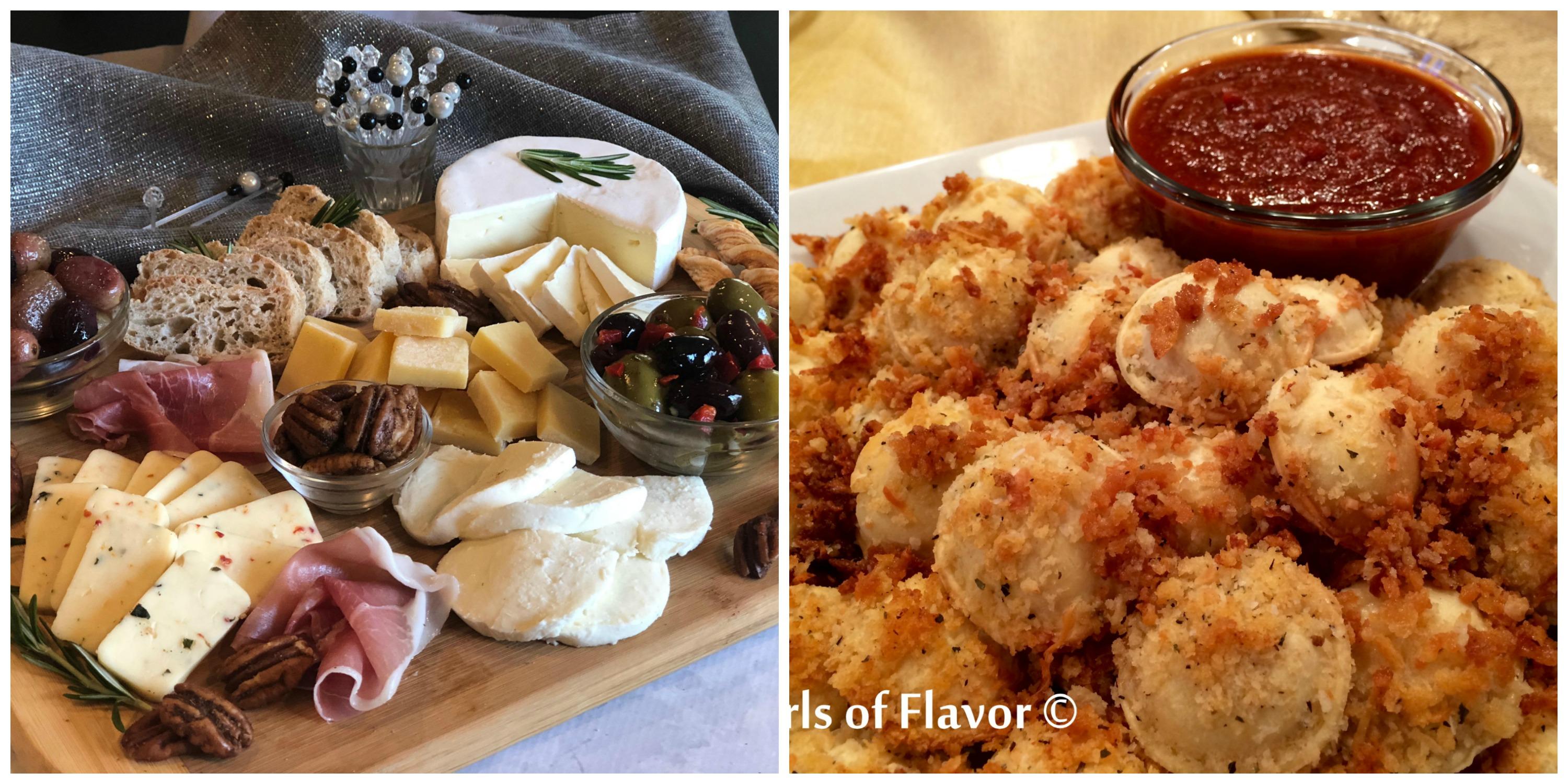 Holiday Cheese Board and Baked Ravioli