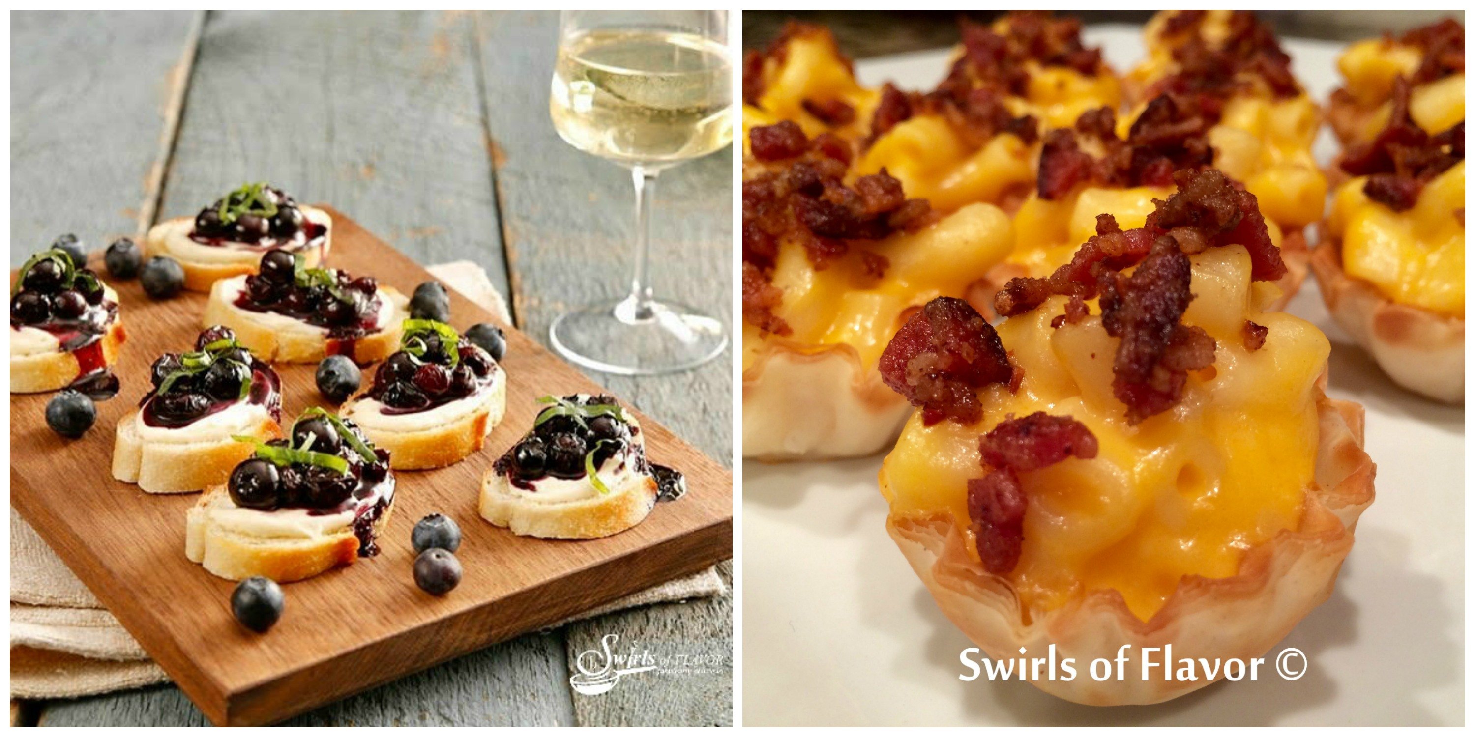 Blueberry Crotini and Bacon Mac and Cheese Bites