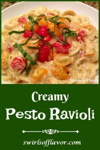 Creamy Pesto Ravioli is an easy recipe for your Meatless Monday dinner tonight. Alfredo sauce, pesto and white wine combine to form a flavorful creamy sauce that coats mini cheese ravioli and fresh tomatoes. Fresh basil adds the finishing touch to this family favorite dinner recipe.