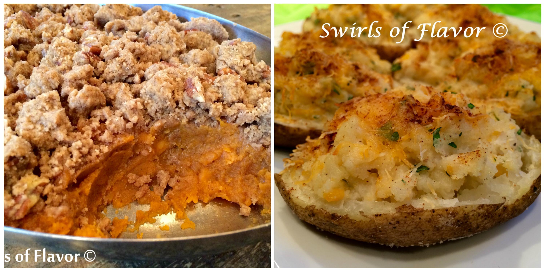 Pecan Crumb Sweeet Potatoes and Twice Baked Potatoes