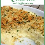 mashed potato casserole with text overlay