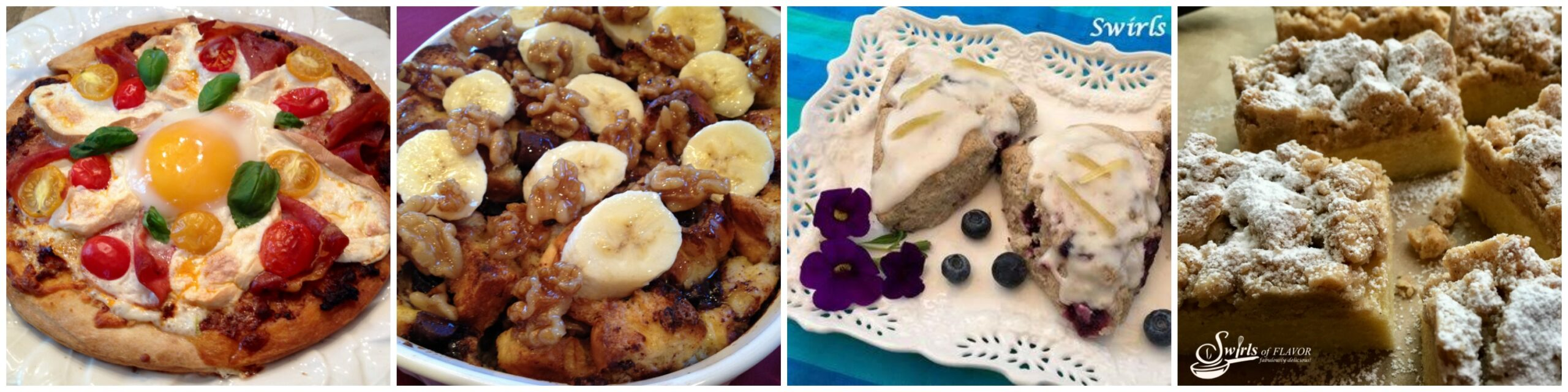 Left to Right: Breakfast Pizza; Banana Bread Pudding; Blueberry Scones; Crumb Cake
