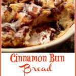 Cinnamon Roll Bread Pudding with scoop out and text overlay