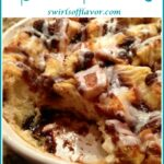 baked cinnamon bun casserole with scoop out and text overlay