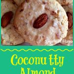 coconut cookies with almonds and text overlay