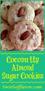 By adding just a few extra ingredients to a sugar cookie mix you can bake up a batch of Coconutty Almond Sugar Cookies! sugar cookies | almonds | coconut | sugar cookie dough | fun for kids | baking | holidays | entertaining
