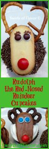 Rudolph the Red Nosed Reindeer Cupcakes! Kids and grown-ups alike will flip over this sweet cookie reindeer who helped Santa and saved Christmas! holiday baking | fun for kids | Rudolph cupcakes | cookies | cupcakes