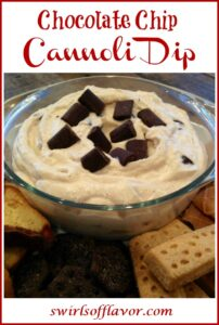 cannoli dip with dippers and text overlay