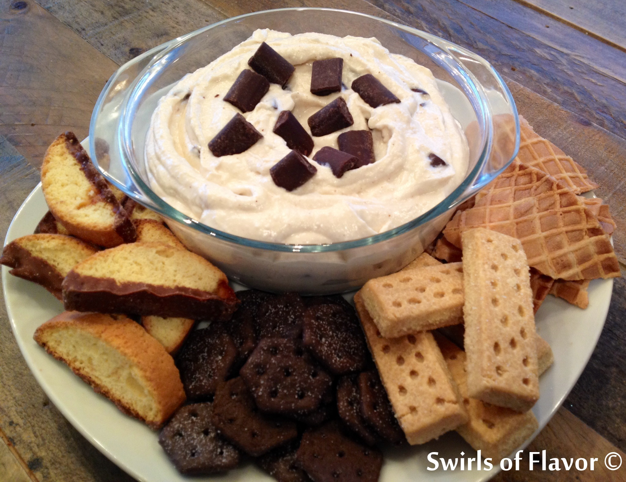 Cannoli dip with assorted dippers