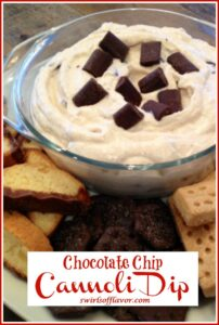 dessert dip in a bowl with dippers and text overlay