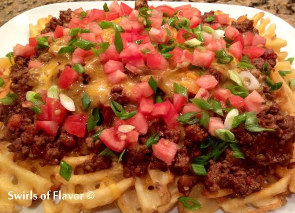 Chili Smothered Waffle Fries