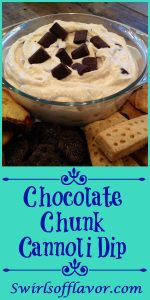 With just a few ingredients and a few minutes you'll have Chocolate Chunk Cannoli Dip ready for entertaining and the holidays! cannoli filling | dip | holiday dessert | entertaining | easy dessert | ricotta cheese | chocolate